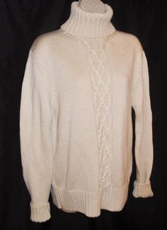 Banana Republic Sweater 100% Merino Wool S Cable Knit Turtleneck Ivory Small  #BananaRepublic #Turtleneck #MerinoWool #WoolSweater #Cozy