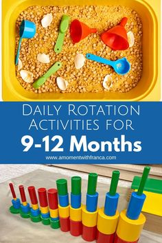 Daily Toy Rotation for 9-12 Month Babies - if your little ones are bored of their toys, try these rotation tips for keeping them entertained. These are great ideas for busy mums/moms this year. If you're stuck for activities during lockdown, take a read. #baby #parenting #play