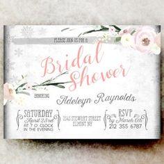 Winter Bridal Shower pink - printable bridal shower invitation, watercolor bridal shower invitation