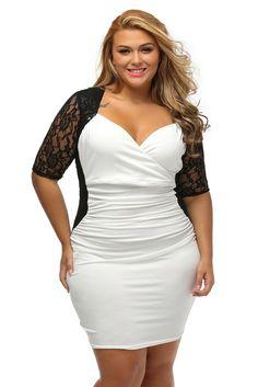 02b12be04a20 KELLIPS White Ruched Lace Plus Size Mini Dress