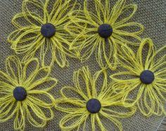 Daisy girasol 12 arpillera flor Set - rústico, Country, decoración del bosque