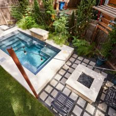 Intimate Backyard With Plunge Pool And Fire Pit Backyard Pool Designs, Small Backyard Landscaping, Fire Pit Backyard, Plunge Pool Cost, Kleiner Pool Design, Pools For Small Yards, Dipping Pool, Small Pool Design, Cool Swimming Pools