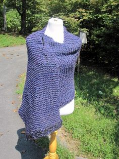 Barrington blue/purple knit shawl -A beautiful knit shawl to wear in a variety of ways. The color is so incredibly rich with vibrant blue and purple spun together. Double knit on each end to make it hang and drape beautifully. Warmth from tip to tip. Knit with a homespun that is soooo soft. Knit with love.  https://www.etsy.com/listing/108853851/barrington-blue-purple-knit-shawl    Approx 22 x 81 inches