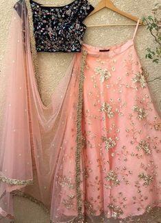 Peach and Navy Lehenga-Shrena Hirawat-Fabilicious Fashion Party Wear Indian Dresses, Party Wear Lehenga, Indian Gowns Dresses, Indian Bridal Outfits, Indian Fashion Dresses, Indian Designer Outfits, Dress Indian Style, Indian Wear, Designer Lehnga Choli