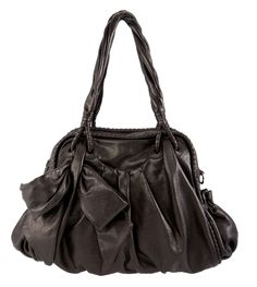 This gorgeous Handbag takes the cake! With a hand tied leather bow and pleated ruched bottom, makes this bag fun and feminine! It has a zip top and hidden pocket. Made from Italian Napa Leather. Available in two colors.