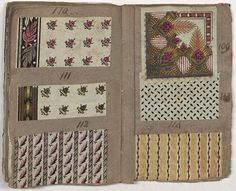 Pages from Archibald Hamilton Rowan's scrapbook showing the small repeats and stripes used in 1790s dress fabrics. Col. 50, 66×141, Joseph Downs Collection, Winterthur Library