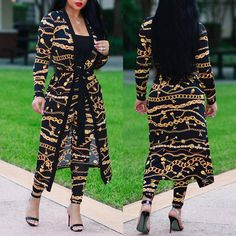 2PCs Golden Chain Print Belted Cover Ups With Pants