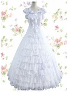 Sweet Square Satin Cap Sleeves Floor-length Lolita Dress With Ruched Bottom