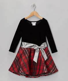 Take a look at this Red & Black Plaid Velvet Hipster Dress - Toddler & Girls by Gerson & Gerson on #zulily today!