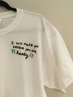 Twenty One Pilots- Lovely I Will Make You Believe You Are Lovely Embroidered T-Shirt 100% Cotton Unisex T-Shirt All items are embroidered by me, and each shirt will have slight differences Each T-Shirt is made to order Ready to ship to you in 5 to 7 days