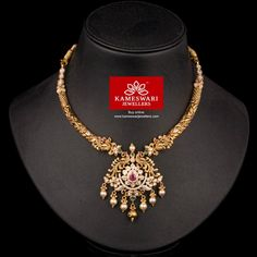 Traditional gold necklaces for women from the house of Kameswari. Shop for antique gold necklace, exquisite diamond necklace and more! Gold Earrings Designs, Gold Jewellery Design, Necklace Designs, Silver Jewellery Indian, Silver Jewelry, 925 Silver, Silver Ring, Sterling Silver, Temple Jewellery