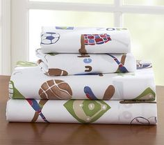 My Favorite Sports Sheeting Pottery Barn Kids $59.99 for Twin