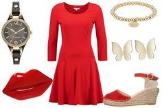 stylizacja na randkę z czerwoną sukienką