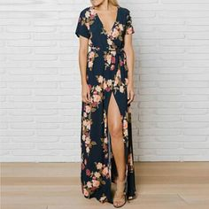 Black floral maxi dress with front slit