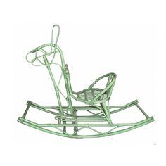 Vintage Green Rattan Rocking Horse