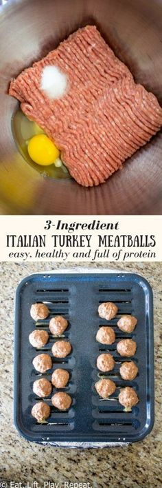 A simple, clean eating meatball recipe that takes 30 minutes to prepare. These healthy 3-ingredient Italian Turkey Meatballs are loaded with protein and are perfect to add to meal prep. Make a batch or two for the week or freeze a batch for last minute dinner ideas! Pin now to make these healthy meatballs later.