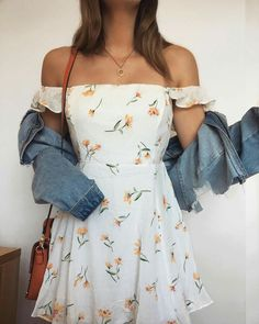 Denim jacket with white floral dress - Denim jacket with white floral dress . - Denim jacket with white floral dress – Denim jacket with white floral dress – {hashtags Source by - Cute Floral Dresses, White Floral Dress, Lovely Dresses, Vintage Dresses, Floral Outfits, White Dress Casual, Casual Fall Outfits, Cute Summer Outfits, Spring Outfits