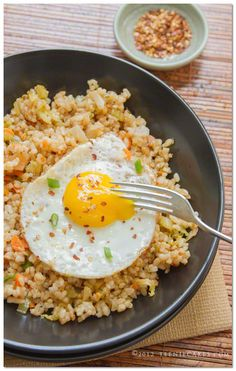 Kimchi Fried Brown Rice with Fried Egg recipe on TeenieCakes.com