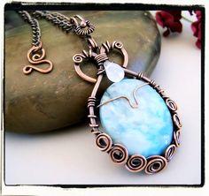 Blue Jasper Gemstone Spiral Frame Pendant with Chain