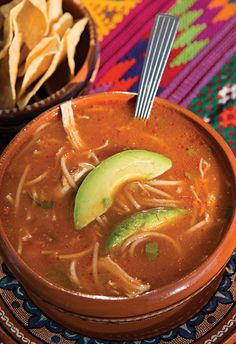 Sopa de fideo, a nourishing soup made with vermicelli pasta, is hard to find in restaurants north of the Rio Grande. For vegetarian version substitute veggie broth. Mexican Dishes, Mexican Food Recipes, Soup Recipes, Cooking Recipes, Mexican Sopa, Mexican Meals, Chili Recipes, Healthy Recipes, Fideo Soup Recipe