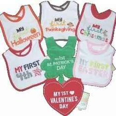 These Holiday Bibs for Baby make great shower gifts. Our son had a set of Holiday Bibs when he was a baby and I took his picture in each one....