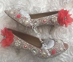 443209a6222c Coral Wedding Vintage Inspired Heels - Swarovski Crystal Heels - Pearl and  Coral Rhinestone Heel Shoes - Bridal Shoes - Coral Bridal Pumps