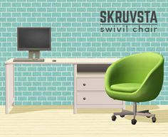"""So I recently went to Ikea and after many """"my sims have that, hihi"""" I came across something my sims didn't have. So I made it. Behold the Skruvsta Swivel chair (gloriously misspelled, because..."""