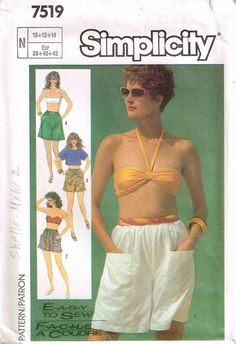 Simplicity 7519 Misses Shorts Elastic Waist Easy Sewing Pattern by PeoplePackages