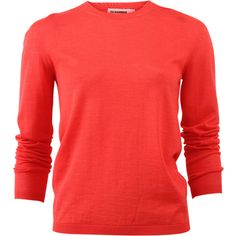 Jil Sander Knit Pull-over ($720) ❤ liked on Polyvore featuring tops, sweaters, jil sander sweater, red top, loose fitting sweaters, loose fitting tops and knit top