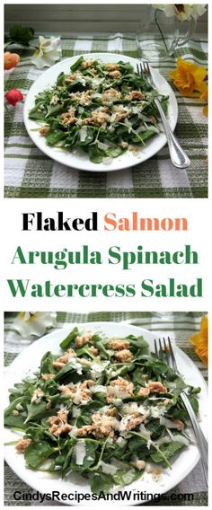 Flaked Salmon Arugula Spinach Watercress Salad #SundaySupper easy spring recipe