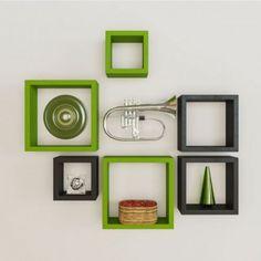 Desi Karigar Wall Mount Shelves Square Shape Set Of 6 Wall Shelves - Green & Black