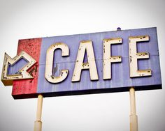 Fine Art Photography Vintage sign mohave desert cafe red white blue rusty