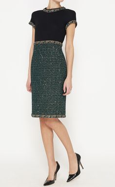 Chanel Black And Green Metallic Dress | VAUNTE