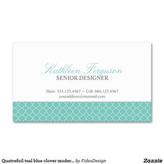 Quatrefoil teal blue clover modern pattern Double-Sided standard business cards (Pack of 100)