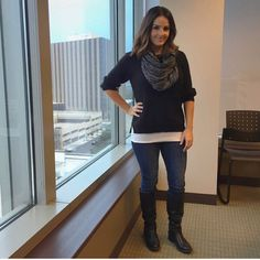 Casual Friday look featuring a simple black sweater, dark jean leggings, flat knee-high boots, and a sparkly black infinity scarf. #ootd #casualfriday #fabeveryday