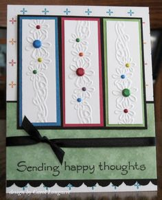 Great use for my embossing border folders and either brads or liquid pearls.