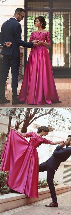 A Line Floor Length Off Shoulder Long Sleeve Appliques Floral Long Prom Dress,Party Dress P226  #LongPromDresses, #CheapPromDress, #PartyDresses, #PromGowns, #GownsProm, #EveningDresses, #CheapPromDresses, #DressesforGirls, #PromDressUK, #PromSuit, #PromDressBrand, #PromDressStore, # Party Dress #GraduationDress