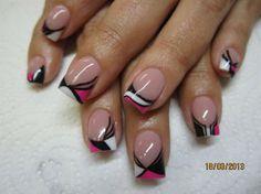Pink·Wht·Blk curve design tips 10 different