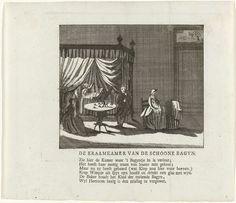 Anonymous | Spotprent op Willem V en zijn maitresse de freule van Lynden, Anonymous, 1782 | Kraamkamer waarin een vrouw net is bevallen, rechts neemt een baker het kind op de schoot. Aan een tafel drinkt een man een glas wijn. Een pastoor schenkt de bagijn vergiffenis. Te interpreteren als een spotprent op prins Willem V en zijn maîtresse Constance van Lynden, ca. 1782. Gedrukt op het blad een zesregelig vers.