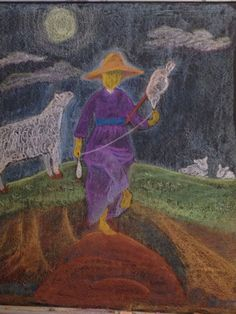 Age 09 ~ Fibers & Clothing ~ Spinning Shepherdess ~ chalkboard drawing