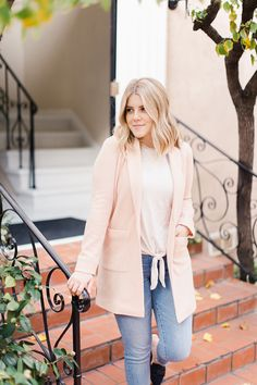 bbfe44bc7ea LC Lauren Conrad Textured Shawl Collar Blazer and Tie-Front Bell Sleeve Top  from Kohl s
