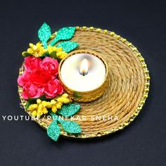 Diya Decoration Ideas, Diwali Diya, Jute, Tea Lights, Candle Holders, Candles, How To Make, Crafts, Design