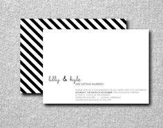 SALE: Printable DIY Custom Wedding Invitation - Striped Minimalist. $20.00, via Etsy: Little Paper Lantern