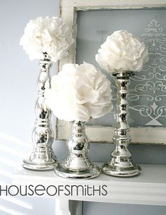 silver candlesticks, christmas decor