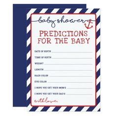 Sailor Baby Showers, Anchor Baby Showers, Navy Baby Showers, Baby Shower Games, Baby Boy Shower, Baby Prediction Cards, Wishes For Baby Cards, Virtual Baby Shower, Nautical Baby