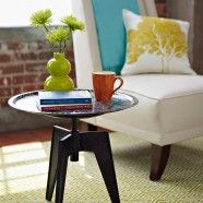 attach a tray to make a stool into a side table