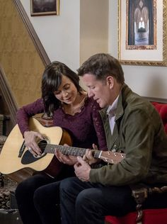 "Good Witch, Season 3 - ""Say It With Candy"" Cassie (Catherine Bell) and Sam (James Denton) share a moment with his guitar. Watch an all new episode of Good Witch on Sunday The Good Witch Series, Witch Tv Series, Good Witch Season 3, Witch Pictures, Witch Pics, Worst Cooks In America, James Denton, Best Tv Couples, Witch Outfit"