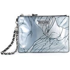 Moschino broken glass print clutch ($495) ❤ liked on Polyvore featuring bags, handbags, clutches, grey, purses, silver metallic handbags, handbags purses, grey purse, hand bags and moschino