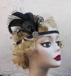 Black Peacock Feather, Swarovski Crystal, Silver, 1920s Flapper Headband, Hair Accessory, Great Gatsby, Costume Headpiece on Etsy, $64.95