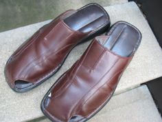 Skechers Brown Leather Mules Clogs Used Shoes 47 / 13
